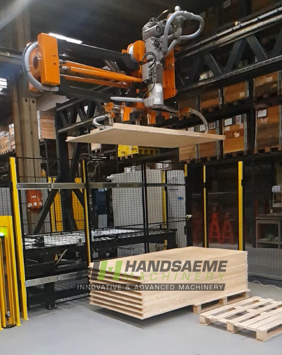 Stacker that takes the finished panels automatically off the machine and piles them up